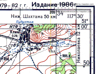 Reduced fragment of topographic map ru--gs--100k--m50-043--N051-00_E117-00--N050-40_E117-30; towns and cities Akuray, Kurunzulay, Kutugay