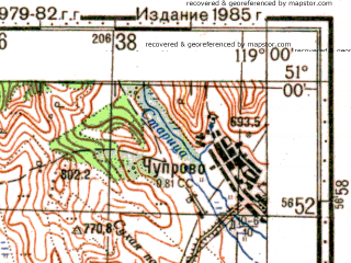 Reduced fragment of topographic map ru--gs--100k--m50-046--N051-00_E118-30--N050-40_E119-00; towns and cities Dono, Kalga, Nizhniy Kalgukan