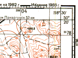 Reduced fragment of topographic map ru--gs--100k--m50-069--N050-20_E118-00--N050-00_E118-30; towns and cities Krasnokamensk, Oktyabrskiy