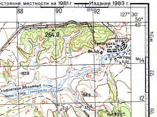 Reduced fragment of topographic map ru--gs--100k--m52-051--N050-40_E127-00--N050-20_E127-30; towns and cities Ignatyevo, Markovo, Mikhaylovka