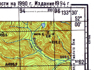 Reduced fragment of topographic map ru--gs--100k--m53-003--N052-00_E133-00--N051-40_E133-30