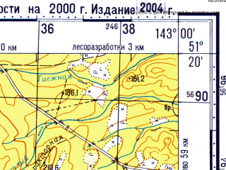 Reduced fragment of topographic map ru--gs--100k--m54-034--N051-20_E142-30--N051-00_E143-00; towns and cities Gorki, Irkir, Molodezhnoye