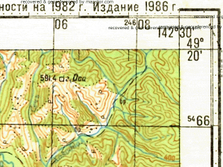 Reduced fragment of topographic map ru--gs--100k--m54-105--N049-20_E142-00--N049-00_E142-30; towns and cities Uglegorsk, Nadezhdino, Sergeyevka