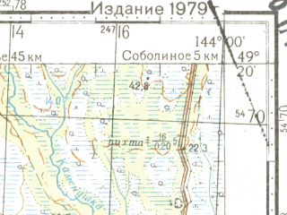 Reduced fragment of topographic map ru--gs--100k--m54-108--N049-20_E143-30--N049-00_E144-00; towns and cities Vladimirovo