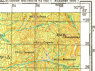 Reduced fragment of topographic map ru--gs--100k--m54-117--N049-00_E142-00--N048-40_E142-30; towns and cities Dalniy, Krasnopolye, Medvezhye
