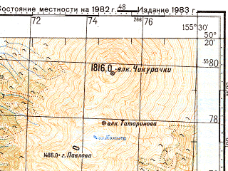 Reduced fragment of topographic map ru--gs--100k--m56-071--N050-20_E155-00--N050-00_E155-30; towns and cities Kharitonovka