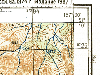 Reduced fragment of topographic map ru--gs--100k--m57-015--N051-40_E157-00--N051-20_E157-30 in area of Ozero Kuril'skoe