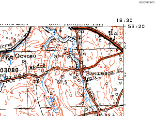 Reduced fragment of topographic map ru--gs--100k--n34-097--N053-20_E018-00--N053-00_E018-30; towns and cities Czarnowo