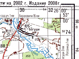 Reduced fragment of topographic map ru--gs--100k--n35-112--(2002)--N053-00_E025-30--N052-40_E026-00; towns and cities Byten, Lesnaya