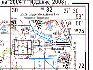 Reduced fragment of topographic map ru--gs--100k--n35-115--(2004)--N053-00_E027-00--N052-40_E027-30; towns and cities Starobin