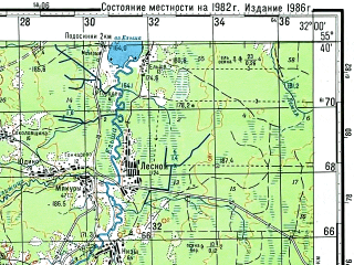 Reduced fragment of topographic map ru--gs--100k--n36-016--(1982)--N055-40_E031-30--N055-20_E032-00; towns and cities Berezugi