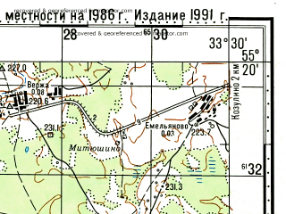Reduced fragment of topographic map ru--gs--100k--n36-031--N055-20_E033-00--N055-00_E033-30; towns and cities Safonovo, Durovo, Khoroshenki