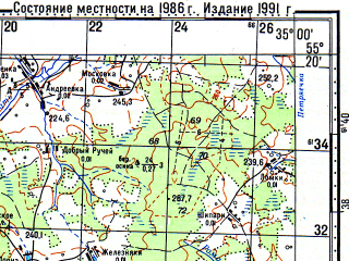 Reduced fragment of topographic map ru--gs--100k--n36-034--N055-20_E034-30--N055-00_E035-00; towns and cities Temkino, Isakovo