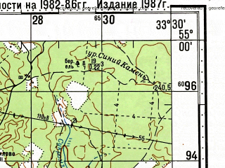 Reduced fragment of topographic map ru--gs--100k--n36-043--N055-00_E033-00--N054-40_E033-30; towns and cities Dorogobuzh