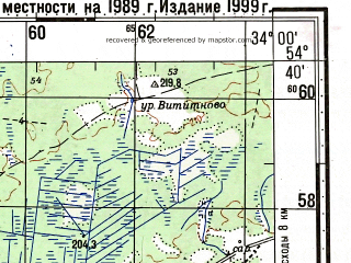 Reduced fragment of topographic map ru--gs--100k--n36-056--N054-40_E033-30--N054-20_E034-00; towns and cities Novaya Berezovka, Pavlinovo