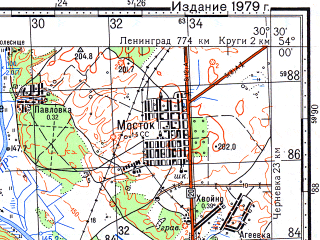 Reduced fragment of topographic map ru--gs--100k--n36-073--(1979)--N054-00_E030-00--N053-40_E030-30; towns and cities Mogilev, Buynichi, Grebenevo