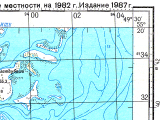 Reduced fragment of topographic map ru--gs--100k--n39-027--N055-20_E049-00--N055-00_E049-30; towns and cities Kamskoye Ust'ye, Kuralovo
