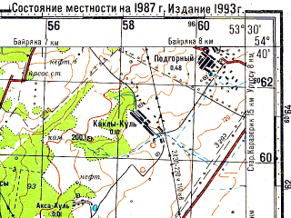 Reduced fragment of topographic map ru--gs--100k--n39-059--N054-40_E053-00--N054-20_E053-30; towns and cities Oktyabr'skiy, Bavly, Urussu