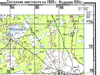 Reduced fragment of topographic map ru--gs--100k--n39-114--N053-00_E050-30--N052-40_E051-00; towns and cities Polyem-mikhaylovka