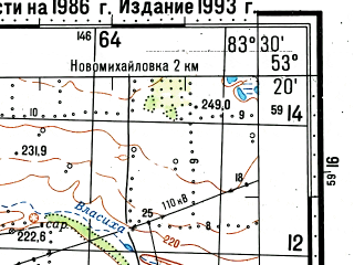 Reduced fragment of topographic map ru--gs--100k--n44-107--(1986)--N053-20_E083-00--N053-00_E083-30; towns and cities Cheremnoye, Novoromanovka