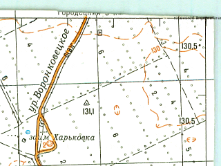 Reduced fragment of topographic map ru--gs--100k--n44-122--N052-40_E078-30--N052-20_E079-00; towns and cities Kulunda