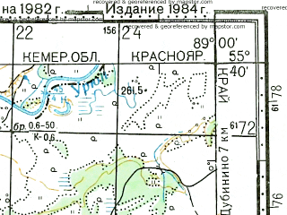 Reduced fragment of topographic map ru--gs--100k--n45-022--N055-40_E088-30--N055-20_E089-00; towns and cities Goryachegorsk, Ivanovka