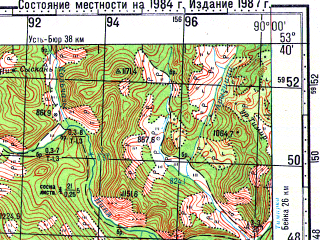 Reduced fragment of topographic map ru--gs--100k--n45-096--N053-40_E089-30--N053-20_E090-00; towns and cities Biskamzha