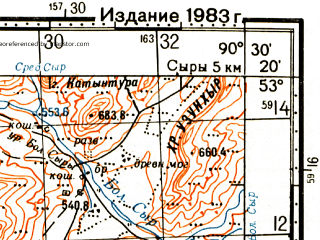 Reduced fragment of topographic map ru--gs--100k--n46-097--N053-20_E090-00--N053-00_E090-30; towns and cities Beltyrskiy
