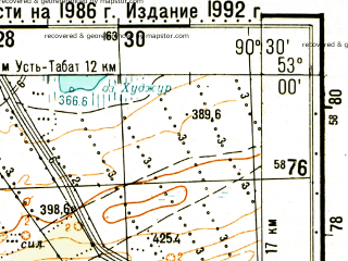 Reduced fragment of topographic map ru--gs--100k--n46-109--N053-00_E090-00--N052-40_E090-30; towns and cities Bondarevo, Poltakov