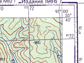 Reduced fragment of topographic map ru--gs--100k--n47-014--N055-40_E096-30--N055-20_E097-00
