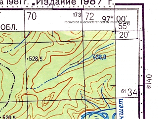 Reduced fragment of topographic map ru--gs--100k--n47-026--N055-20_E096-30--N055-00_E097-00