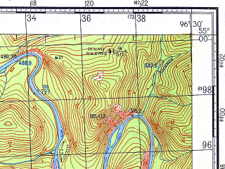 Reduced fragment of topographic map ru--gs--100k--n47-037--N055-00_E096-00--N054-40_E096-30