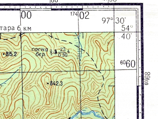 Reduced fragment of topographic map ru--gs--100k--n47-051--N054-40_E097-00--N054-20_E097-30