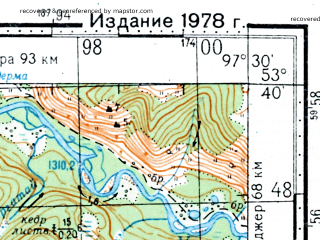 Reduced fragment of topographic map ru--gs--100k--n47-087--N053-40_E097-00--N053-20_E097-30