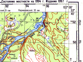 Reduced fragment of topographic map ru--gs--100k--n47-096--N053-40_E101-30--N053-20_E102-00; towns and cities Maslyanogorsk