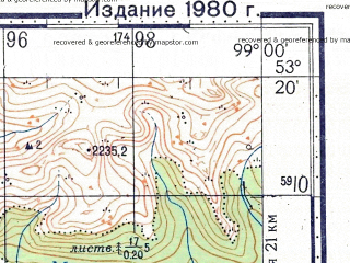 Reduced fragment of topographic map ru--gs--100k--n47-102--N053-20_E098-30--N053-00_E099-00