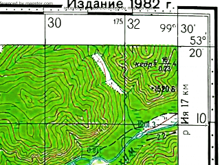 Reduced fragment of topographic map ru--gs--100k--n47-103--(1982)--N053-20_E099-00--N053-00_E099-30