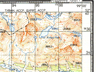 Reduced fragment of topographic map ru--gs--100k--n47-126--N052-40_E098-30--N052-20_E099-00