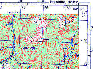 Reduced fragment of topographic map ru--gs--100k--n47-131--N052-40_E101-00--N052-20_E101-30