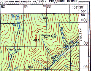 Reduced fragment of topographic map ru--gs--100k--n48-005--N056-00_E104-00--N055-40_E104-30; towns and cities Kochenga