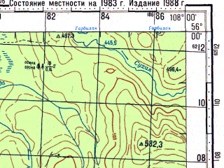 Reduced fragment of topographic map ru--gs--100k--n48-012--N056-00_E107-30--N055-40_E108-00; towns and cities Tarasova