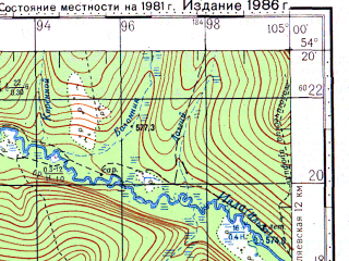Reduced fragment of topographic map ru--gs--100k--n48-066--N054-20_E104-30--N054-00_E105-00; towns and cities Baydonovo