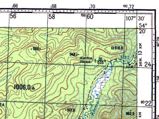Reduced fragment of topographic map ru--gs--100k--n48-071--N054-20_E107-00--N054-00_E107-30