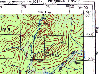 Reduced fragment of topographic map ru--gs--100k--n48-082--N054-00_E106-30--N053-40_E107-00; towns and cities Bolshaya Tarel
