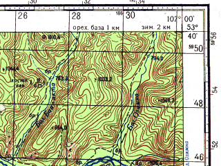 Reduced fragment of topographic map ru--gs--100k--n48-094--N053-40_E106-30--N053-20_E107-00