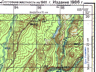 Reduced fragment of topographic map ru--gs--100k--n48-138--N052-20_E104-30--N052-00_E105-00