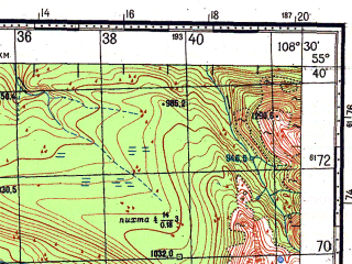Reduced fragment of topographic map ru--gs--100k--n49-013--N055-40_E108-00--N055-20_E108-30