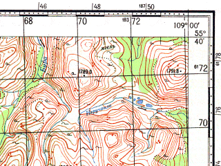 Reduced fragment of topographic map ru--gs--100k--n49-014--N055-40_E108-30--N055-20_E109-00