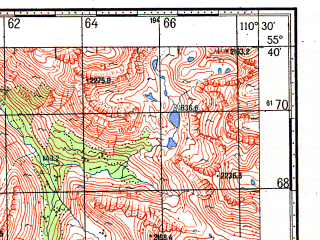 Reduced fragment of topographic map ru--gs--100k--n49-017--N055-40_E110-00--N055-20_E110-30