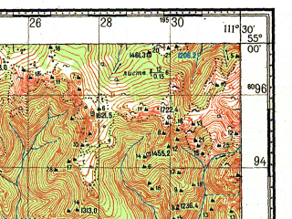 Reduced fragment of topographic map ru--gs--100k--n49-043--N055-00_E111-00--N054-40_E111-30; towns and cities Taza